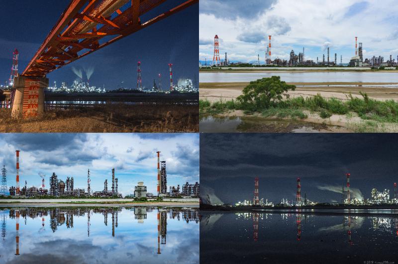 鈴鹿川(磯津エリア)で四日市の工場リフレクションを撮影【条件限定のスポット】