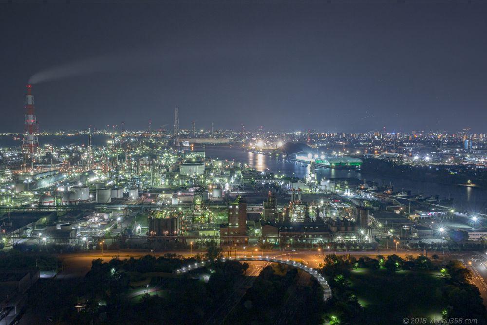 四日市のうみてらす14の工場夜景を撮影【三脚ルールの誤解も解説】