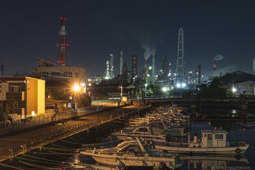 相生橋や稲葉翁記念公園・水門で四日市の工場夜景と漁船を撮影!