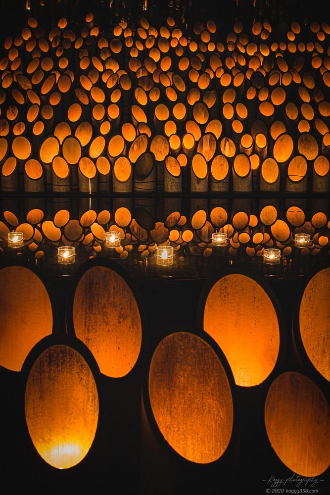 安城デンパークの仲秋のあかり祭りで竹灯りのリフレクションを撮影